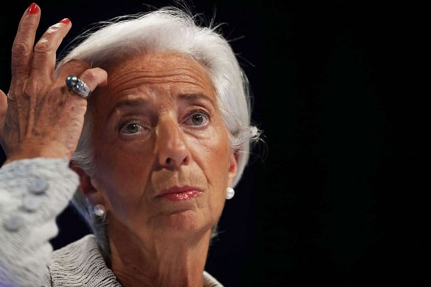 Lagarde talks to reporters during a news conference at the World Bank and IMF Spring Meetings in Washington DC.