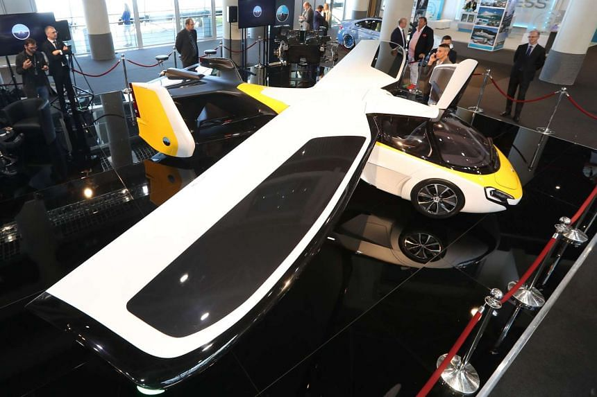 The Aeromobil flying car on display as part of the Top Marques show, dedicated to exclusive luxury goods, on April 20, 2017 in Monaco.
