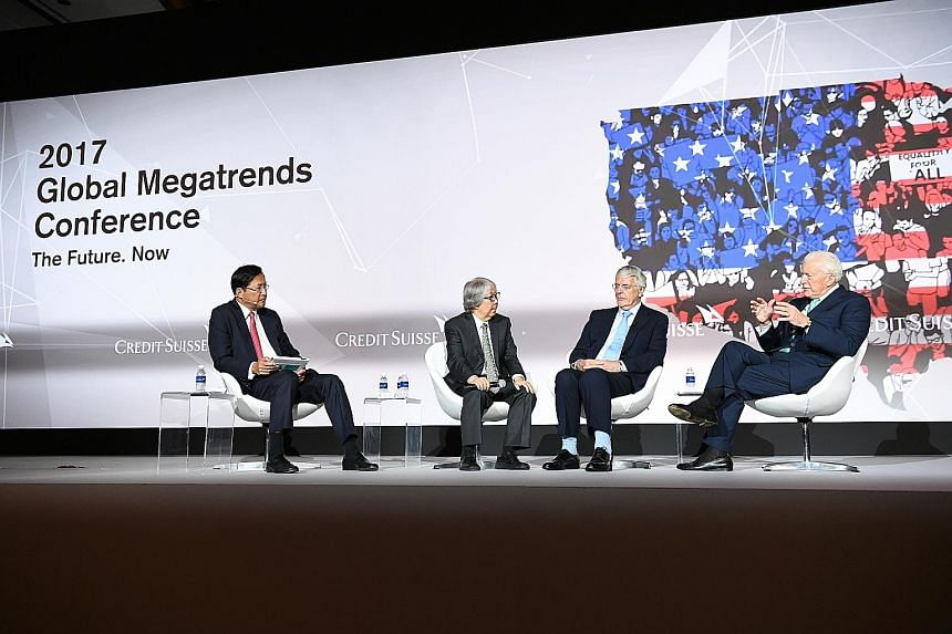 On the panel at the Credit Suisse 2017 Global Megatrends Conference were (from left): Mr Lito Camacho, vice-chairman, Asia-Pacific, Credit Suisse; Professor Tommy Koh, Singapore's Ambassador- at-Large; Sir John Major, former British Prime Minister; a