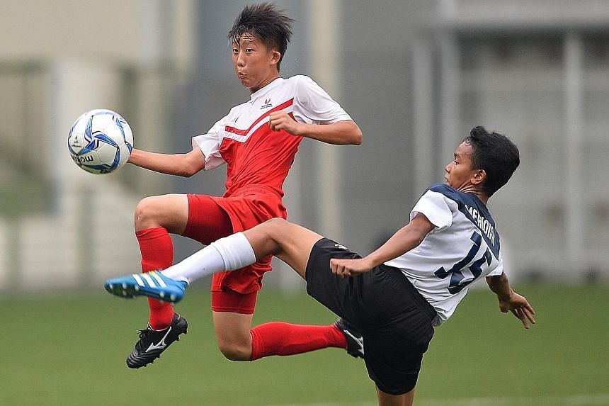 Singapore Sports School (SSP) lifted the Premier League 1 B Division title yesterday after beating Meridian Secondary School (in blue and white) 4-2 on penalties at the Jalan Besar Stadium. The match ended 2-2 at full-time.