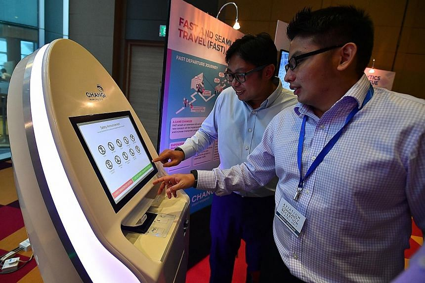 A self-service check-in kiosk, which will be used in Terminal 4, on display at Singapore Expo yesterday. The Air Transport Industry Transformation Map was unveiled by Second Minister for Transport Ng Chee Meng.