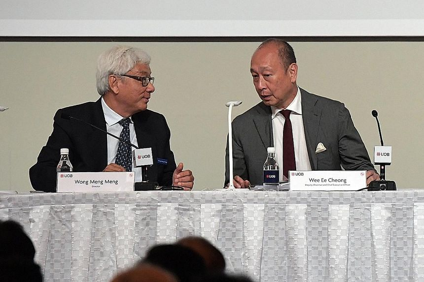 UOB board director Wong Meng Meng, who stepped down after 17 years, noted yesterday that the banking business model is being challenged to transform and adapt in the digital age, while chief executive Wee Ee Cheong said the bank will remain resilient