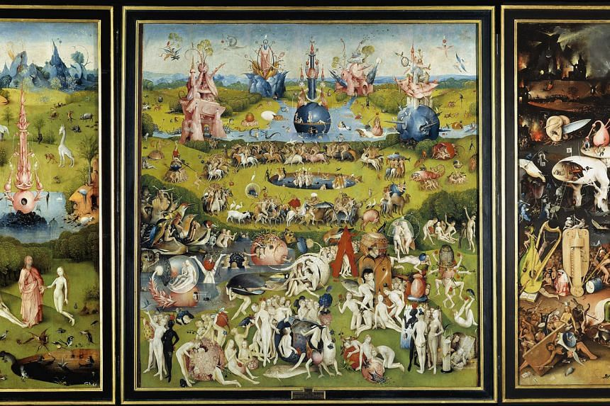 Hieronymus Bosch's famous 15th century painting Garden of Earthly Delights depict humankind's journey from Paradise to Hell. It hangs at the Prado Museum.