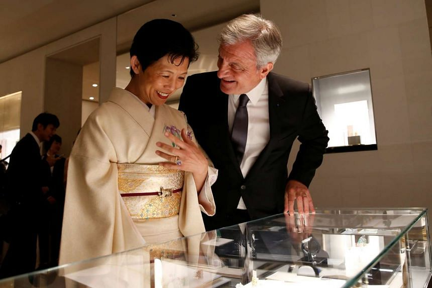 Christian Dior Chief Executive Sidney Toledano talking with Japan's Princess Takamado at Dior's new flagship store in Tokyo, Japan, on April 19, 2017.