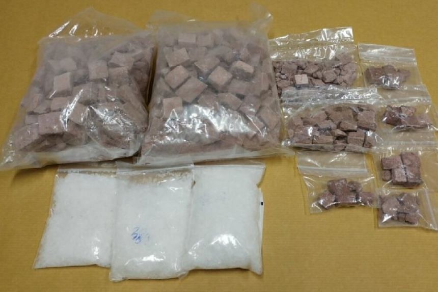 Heroin and 'Ice' seized during a CNB operation on April 17, 2017.