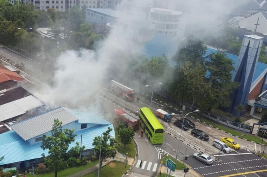 A fire at a Punggol Road house on April 21, 2017.