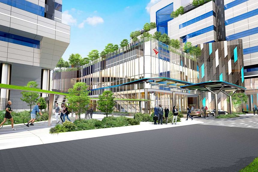 An artist's impression of the revamped Frasers Commercial Trust building in Alexandra Technopark.