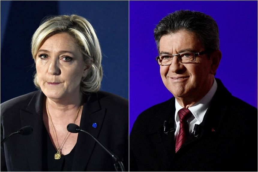 Diplomats insisted there was no plan for the European Union if Marine Le Pen (left) and Jean-Luc Melenchon go into the May 7 election run-off.