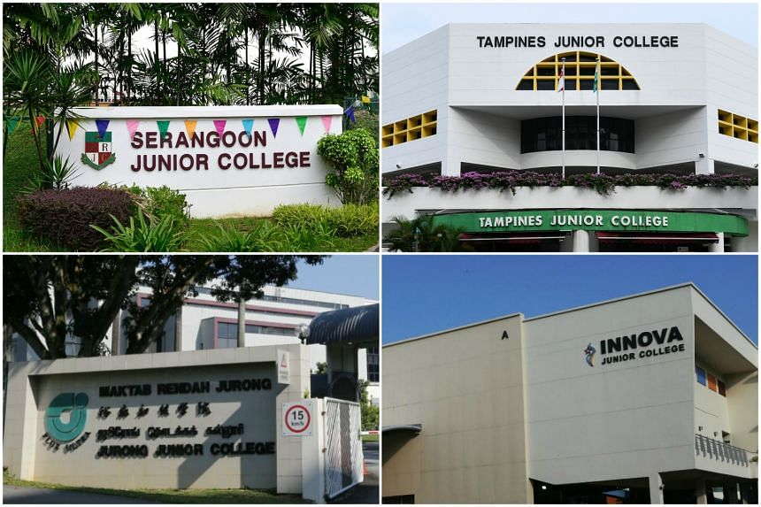 (Clockwise, from top left) Serangoon JC will be merging with Anderson JC, Tampines JC will be merging with Meridian JC, Innova JC will be merging with Yishun JC, and Jurong JC will be merging with Pioneer JC.