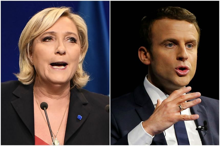 Emmanuel Macron was projected to win with 65 per cent against 35 per cent for Marine Le Pen if both make it to the second round.