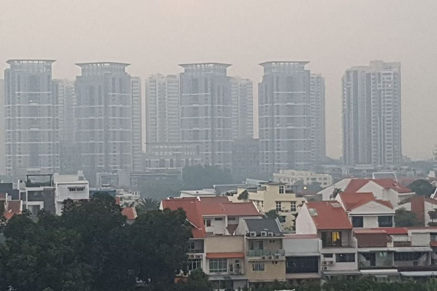 Haze at  Bedok South Avenue 2 at about 7am on April 21, 2017.