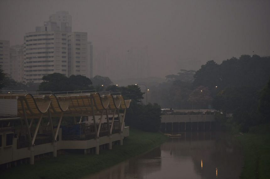 Haze at Pandan Canal near Sunset way at about 7am on April 21, 2017.