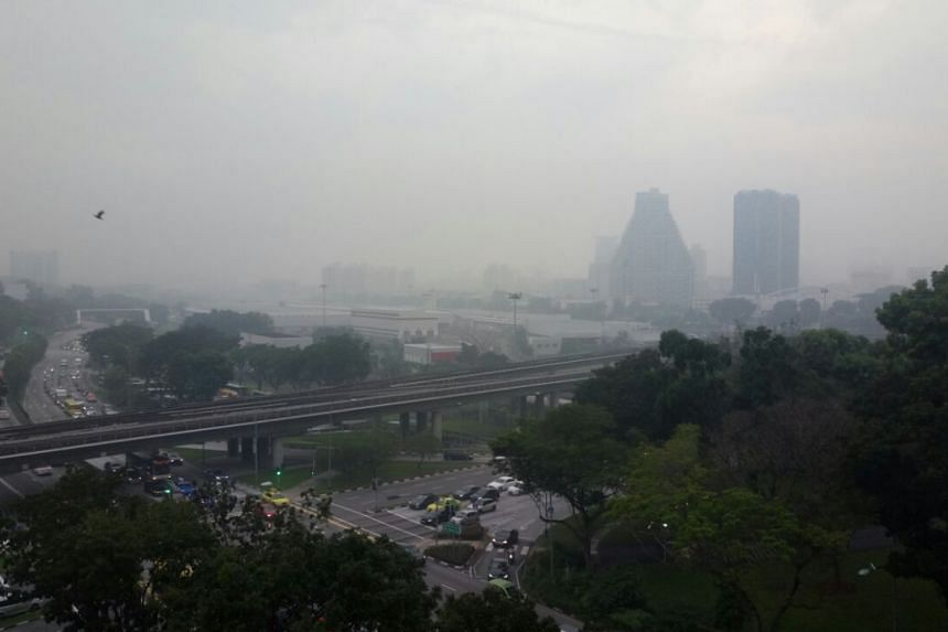 Haze seen from Block 333. Bishan Street, at 7.10am on April 21, 2017.