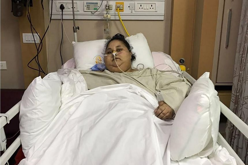 Egyptian patient Eman Ahmed Abd El Aty at The Saifee Hospital in Mumbai, India on March 8, 2017, after an operation.