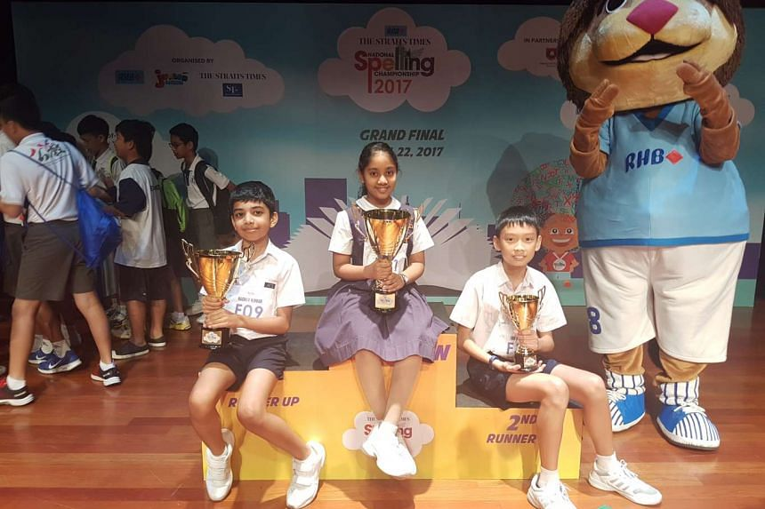 (From left) First runner-up Raghav Kumar of Anglo-Chinese School (Primary), winner Eashaa Pillai of Raffles Girls' Primary School and second runner-up Lee I-Shiang of Rosyth School.