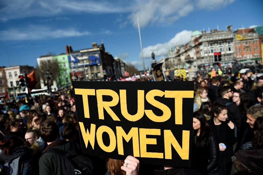 Campaigners stage a protest to demand more liberal abortion laws, in Dublin, Ireland on March 8, 2017.