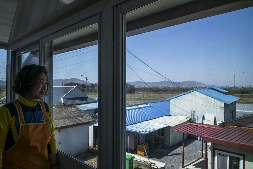 Cho Young Sook looking toward North Korea from her home in Taesung, also known as Freedom Village, located in the Demilitarized Zone in South Korea, on April 19, 2017.