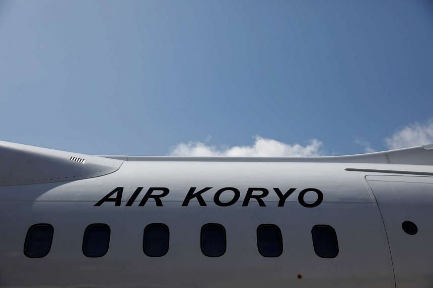 An Air Koryo logo is displayed on a plane at the airport in Pyongyang, North Korea.