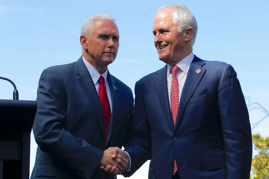 US Vice President Mike Pence (left) shaking hands with Australia's Prime Minister Malcolm Turnbull after a media conference at Admiralty House in Sydney, Australia, on April 22, 2017.