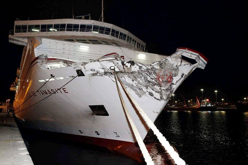 The ferry after it crashed against the Nelson Mandela quay in Las Palmas, Canary Islands, Spain, on April 21, 2017.