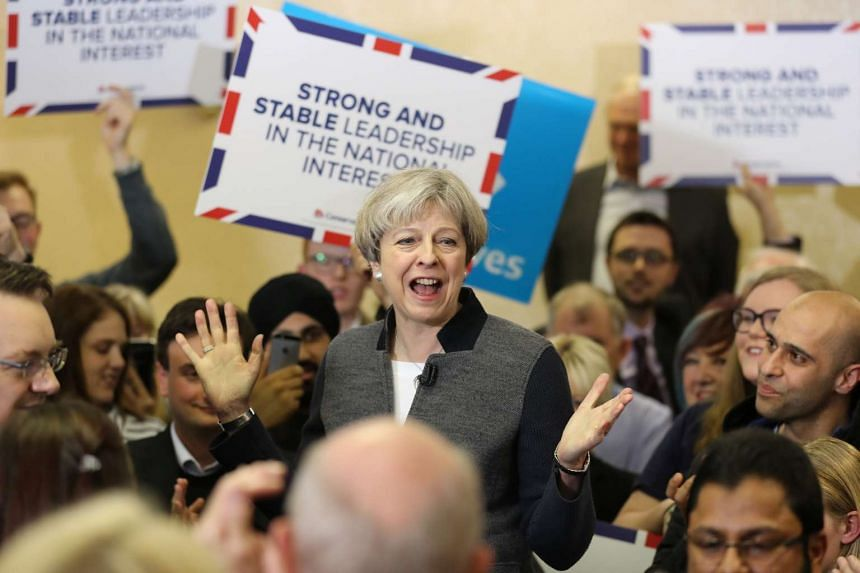 Theresa May delivers a speech during the Conservative Party's election campaign, April 22, 2017.