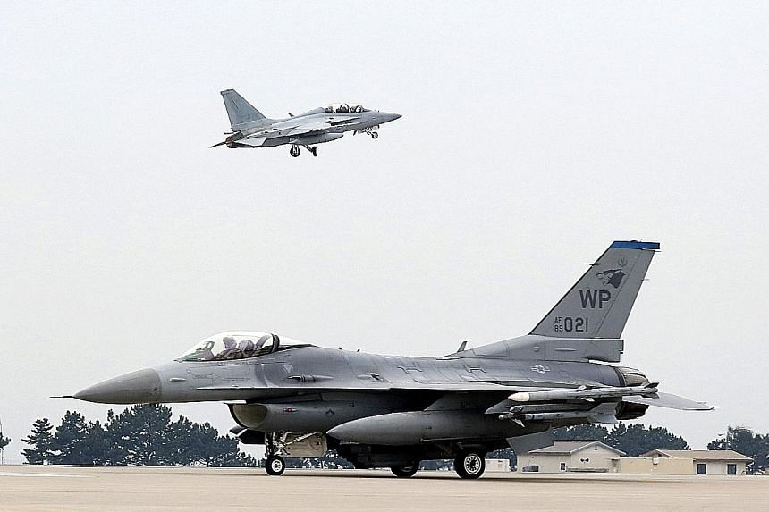 South Korean and US air forces holding military drills on Thursday.