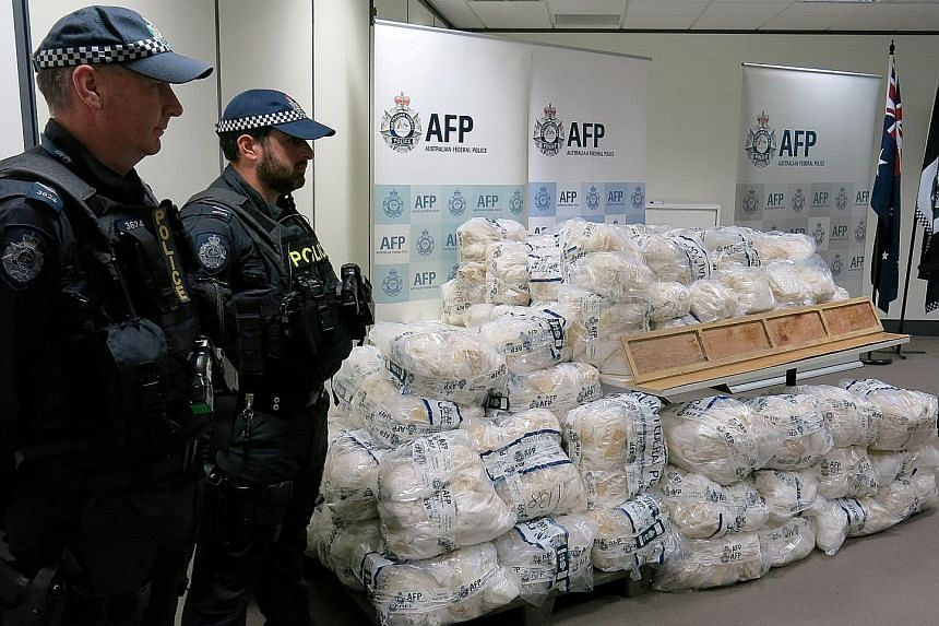 Some of the 903kg haul of Ice seized in Australia on April 4 - the country's biggest ever drug bust.