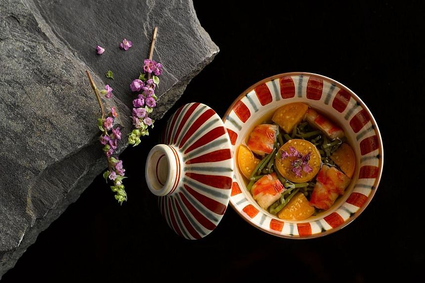 Diners at Shoukouwa can savour Jyunsai, a dish of tiger prawn, water lily bulbs, Japanese cape gooseberry and shiso flowers.