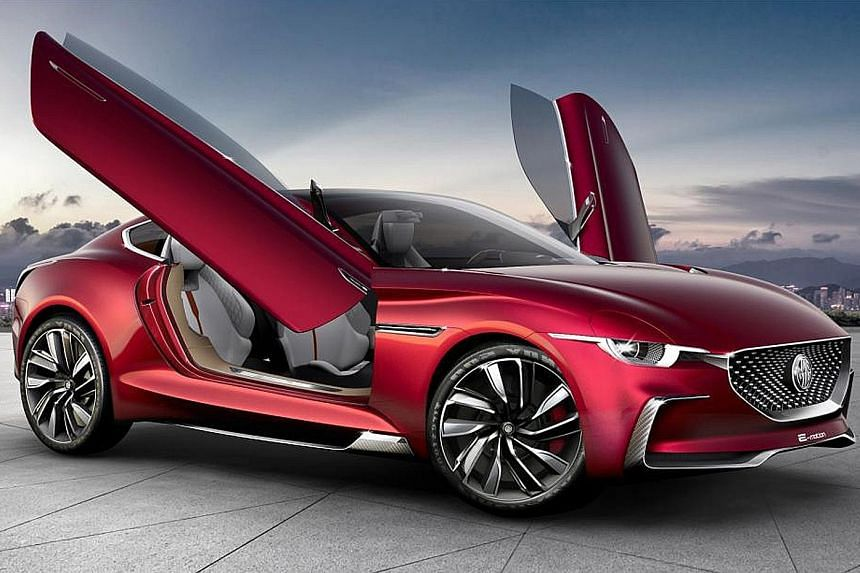 MG Motor's E-motion concept car (above), BMW's 5-Series Li and the new Ford Mustang on display at the Shanghai Auto Show.