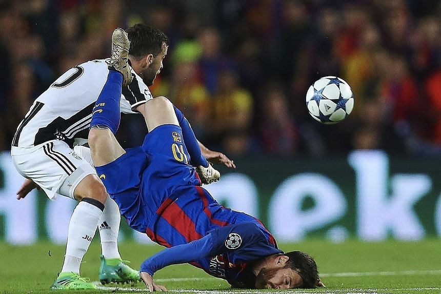 Barcelona talisman Lionel Messi (right) crashes to the ground after a challenge by Juventus midfielder Miralem Pjanic during the Champions League quarter-final second-leg clash at the Camp Nou. The match ended 0-0, leaving Barca with just two wins fr
