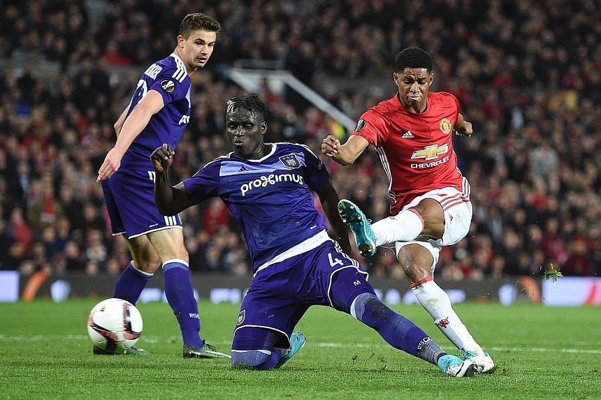 Forward Marcus Rashford scoring in the 107th minute against Anderlecht to seal Manchester United's progress to the Europa League semi-finals for the first time.