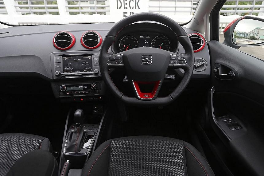 The power plant of the Ibiza is lively and the car has red seat belts, red stitching on the steering wheel and red trim around the air-con vents.