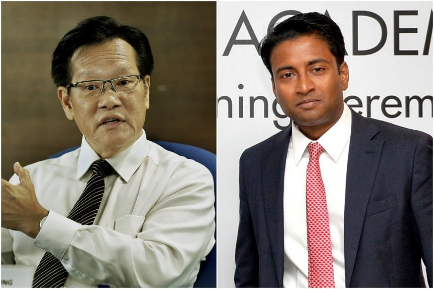 Tampines Rovers chairman Krishna Ramachandra (right) said that Team LKT, led by Lim Kia Tong (left), should not be seen as election favourites.