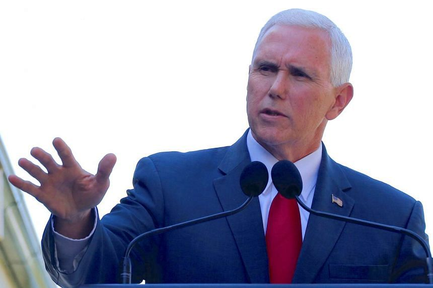 US Vice President Mike Pence speaking during a media conference with Australia's Prime Minister Malcolm Turnbull (not pictured) at Admiralty House in Sydney, Australia, on April 22, 2017.