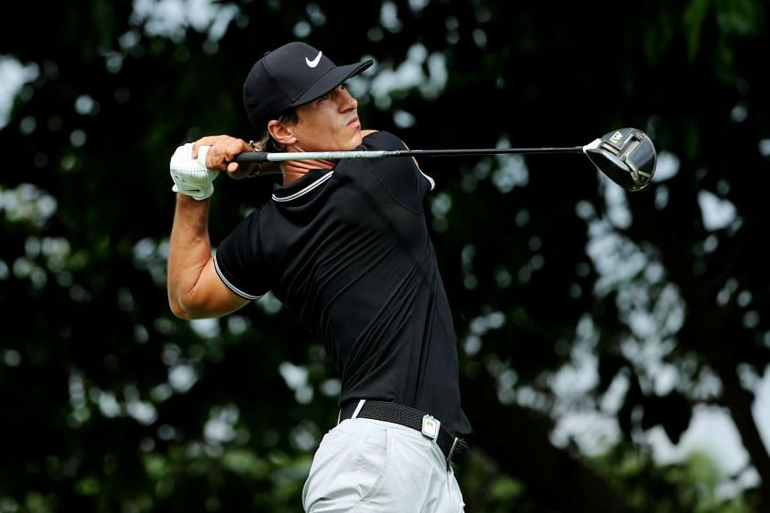Thorbjorn Olesen of Denmark playing a shot at the Shenzhen International golf tournament in China's southern Guangdong province, on April 21, 2017.