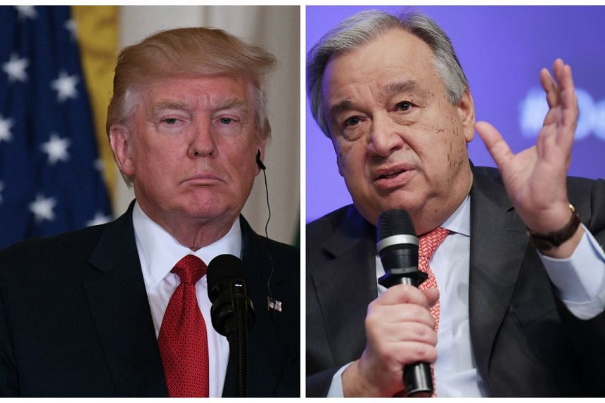 Trump (left) and Guterres met at the White House.
