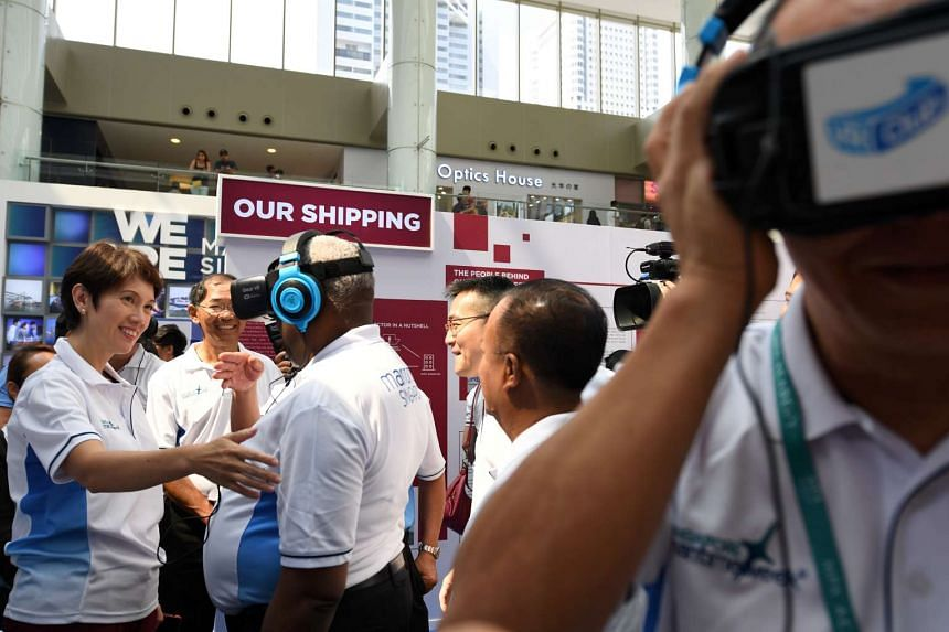 Senior minister of state for transport, Mrs Josephine Teo, at the Singapore Maritime Week exhibition at Marina Square.