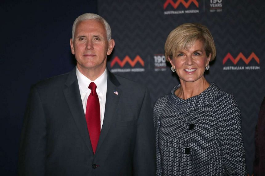 Australian Foreign Minister Julie Bishop with US Vice-President Mike Pence during his visit to Sydney.