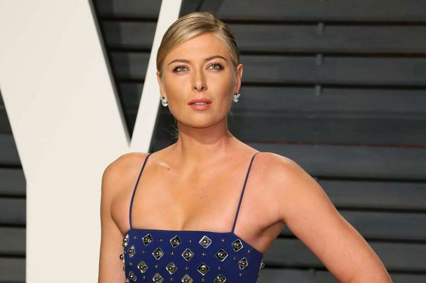 Russian tennis player Maria Sharapova poses at the post-Oscars Vanity Fair Party in February 2017.