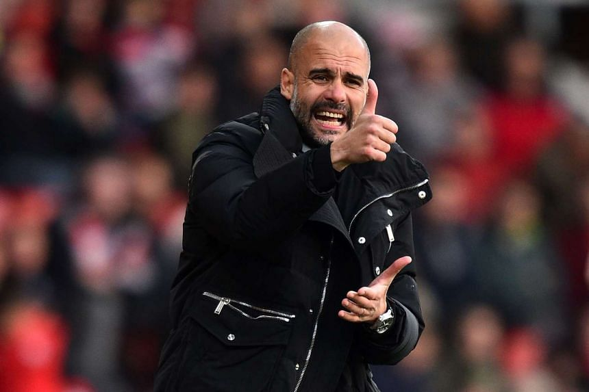 Guardiola gestures on the touchline during a match against Southampton, April 15, 2017.