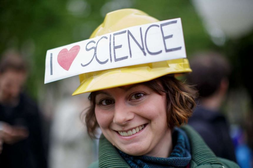 A woman participates in a parallel March for Science in Vienna, Austria, 22 April 2017.