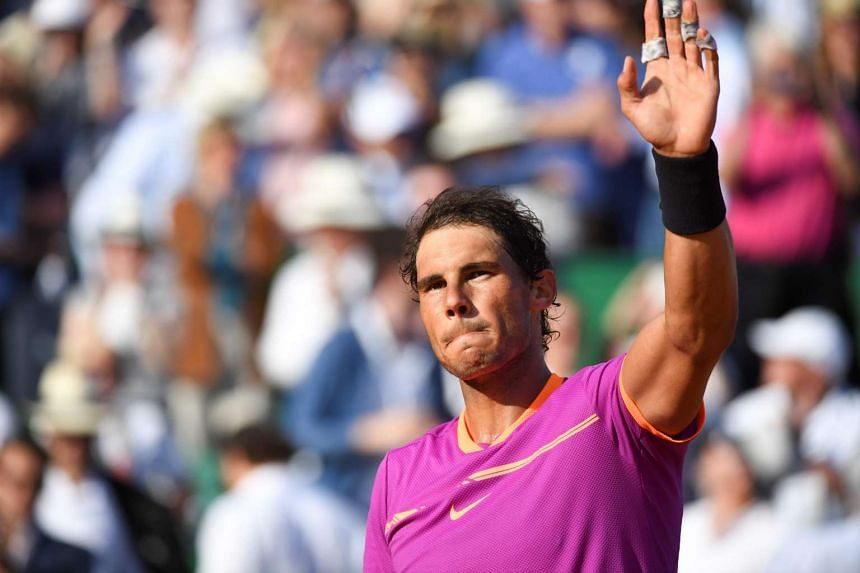 Spain's Rafael Nadal celebrates after winning his match against Belgium's David Goffin.