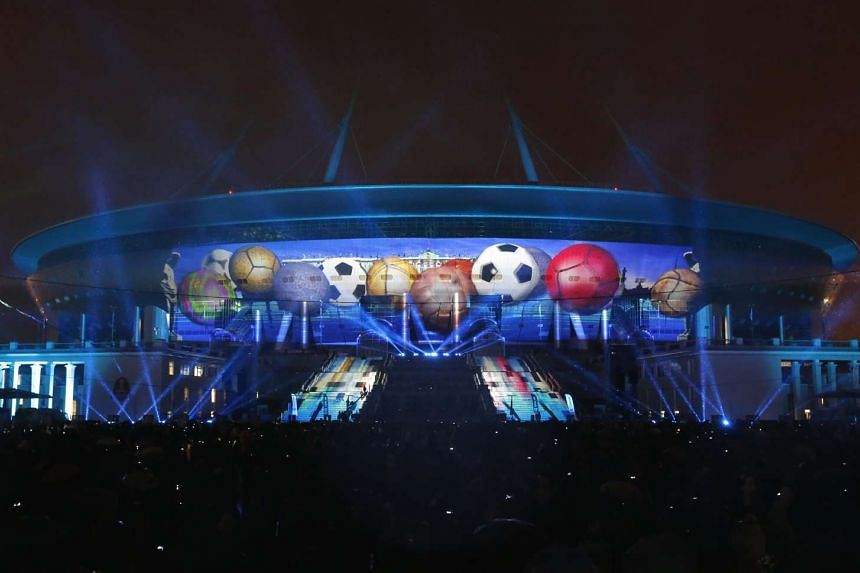 A view of the illuminated 'Saint-Petersburg' stadium during a light show at the Krestovsky Island in St. Petersburg, Russia on April 22, 2017.