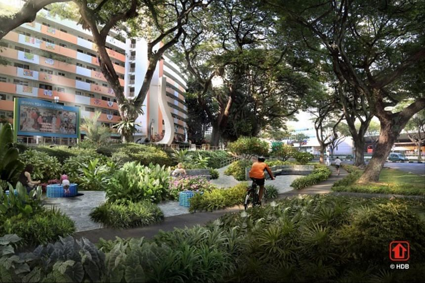 The pocket park in front of Block 157 Lorong 1 Toa Payoh will feature landscaped spaces with plants and furniture inspired by popular motifs in Toa Payoh.