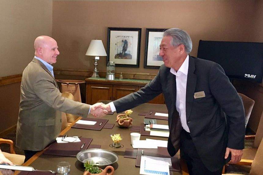 DPM Teo Chee Hean (right) met United States National Security Advisor H R McMaster on the sidelines of The Sedona Forum, Sedona, Arizona, on April 22, 2017.
