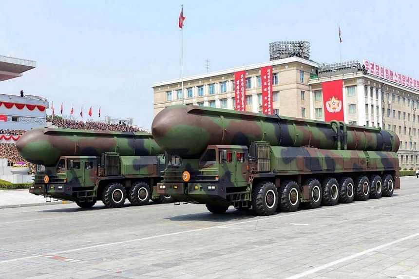 Korean People's ballistic missiles being displayed through Kim Il-Sung square on April 16, 2017, during a military parade in Pyongyang marking the 105th anniversary of the birth of late North Korean leader Kim Il Sung.