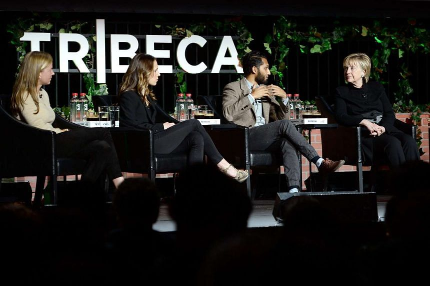 Hillary Clinton attends a panel discussion at the Tribeca Film Festival in New York on April 22, 2017