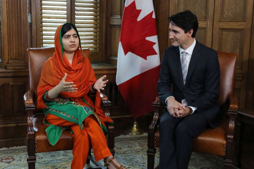 Malala Yousafzai meeting with Canadian Prime Minister Justin Trudeau in Ottawa, Ontario on April 12, 2017.