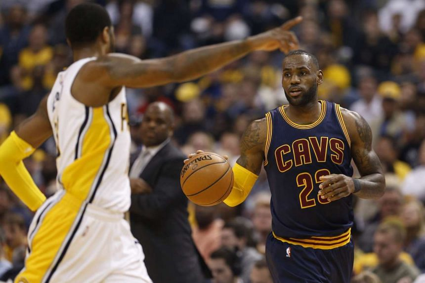 Cleveland Cavaliers' LeBron James (right) in the match against the Indiana Pacers.
