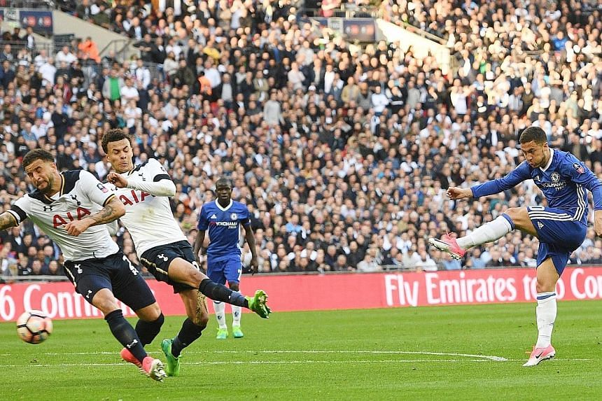 Chelsea's Eden Hazard scoring in the 75th minute to give his side a 3-2 lead. The Blues beat Spurs 4-2 to move into the FA Cup final and will fancy their chances of doing the double this season.